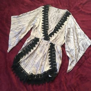 Lira Silky Bell Sleeve Lace Trim Romper